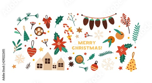Christmas festive flat vector decorations set. Winter season stickers isolated on white background. New Year and Xmas traditional decor bundle. Fir tree baubles, gingerbread cookies design elements. - 290222615