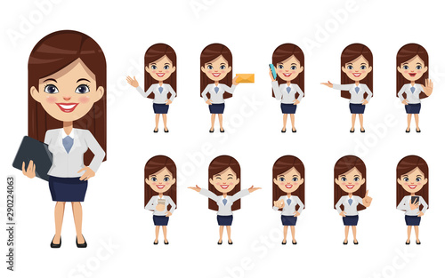 Set of businesswoman creation character pose with occupation job in uniform suit Wallpaper Mural