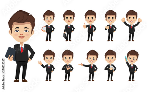 Set of businessman creation character pose with occupation job in uniform suit фототапет