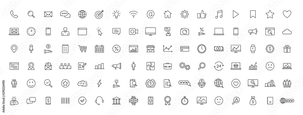 Fototapeta Big set of 100 Business and Finance web icons in line style. Money, bank, contact, office, payment, strategy, accounting, infographic. Icon collection. Vector illustration.