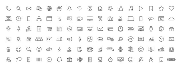 Big set of 100 Business and Finance web icons in line style. Money, bank, contact, office, payment, strategy, accounting, infographic. Icon collection. Vector illustration.