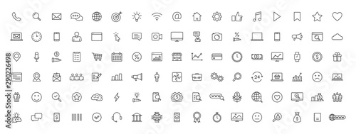 Fotografía Big set of 100 Business and Finance web icons in line style