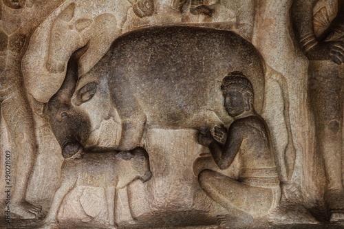 Fotografering Varaha Cave, Mahabalipuram, Chennai, India