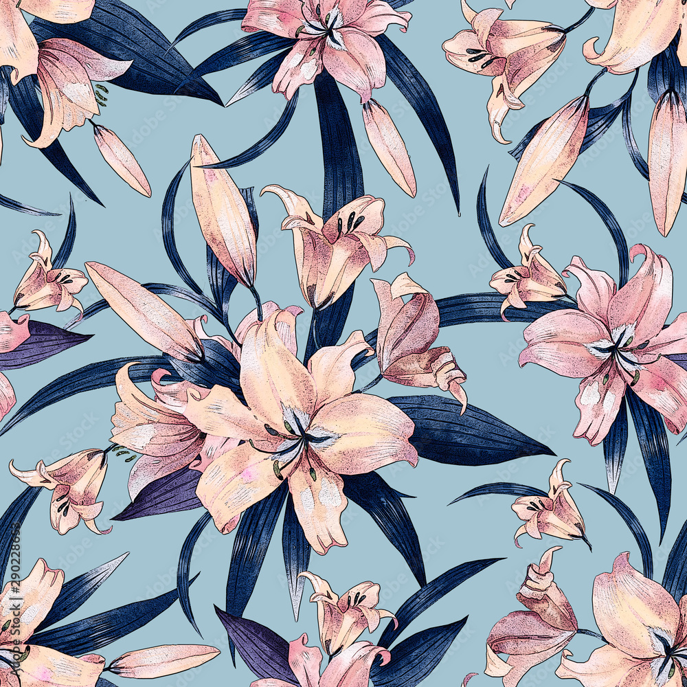 Seamless floral pattern with a bouquet of lilies