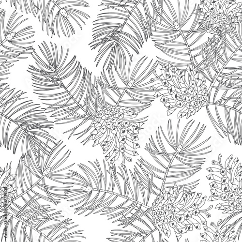 fototapeta na szkło Pine branches and cones. Hand drawn vector seamless pattern on white background.