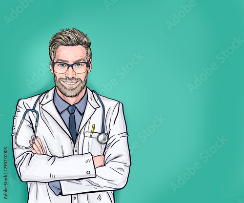 Obraz Smiling doctor with stethoscope posing with arms crossed. Medical professional confident and happy with a big natural smile laughing isolated over blue background - fototapety do salonu