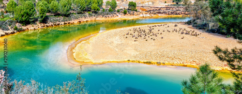 Amazing and colorful river Odiel. Mining landscape. Huelva, Andalucia, Spain.