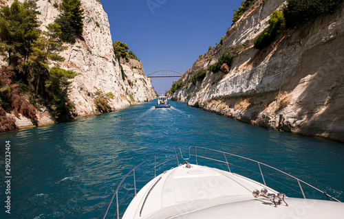 Fotografia, Obraz Passing through the Corinth Canal by yacht, Greece