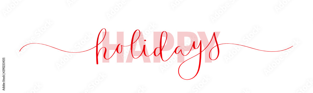 Fototapeta HAPPY HOLIDAYS red vector mixed typography banner