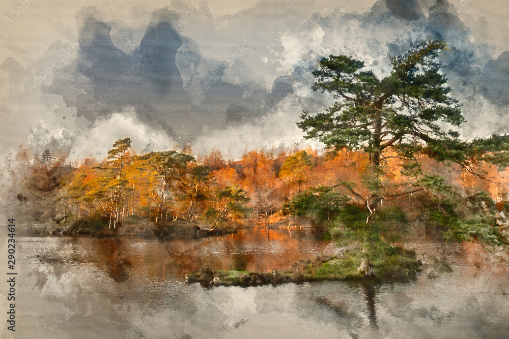 Fototapety, obrazy: Digital watercolor painting of Beautiful landscape image of Tarn Hows in Lake District