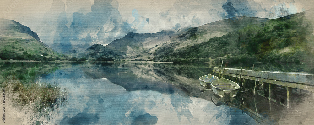 Fototapeta Digital watercolor painting of Panorama landscape rowing boats on lake with jetty against mountain background