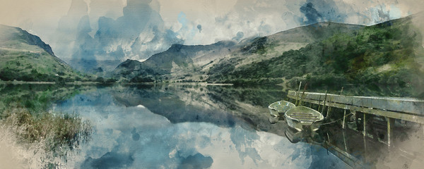 Digital watercolor painting of Panorama landscape rowing boats on lake with jetty against mountain background