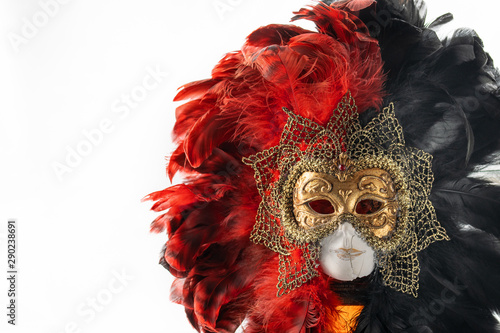 Foto op Aluminium Carnaval Italian carnival. Venetian red black and gold mask. Mysterious event, party.