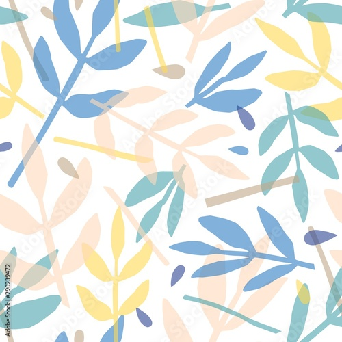 Twigs and leaves hand drawn vector seamless pattern. Forest flora flat background, backdrop. Fern, rowan leafage overlapping silhouettes decorative texture. Floral textile, wallpaper design.