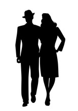 Silhouette Of Couple Walking, ...