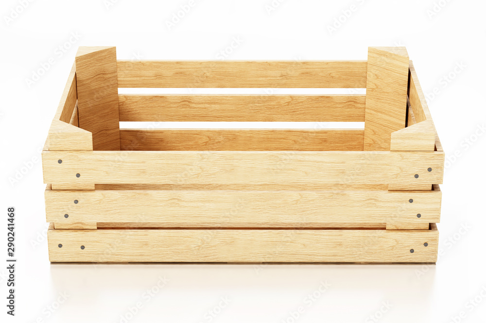 Fototapety, obrazy: Empty wooden crate isolated on white background. 3D illustration