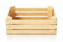 Empty Wooden Crate Isolated On White Background. 3D Illustration