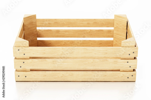 Fotografia  Empty wooden crate isolated on white background. 3D illustration