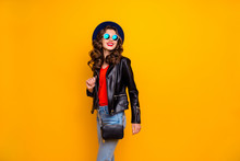 Photo Of Attractive Lady Walking Down Paris Streets Ready For Shopping Time Wear Stylish Outfit With Shoulder Clutch Isolated Yellow Background