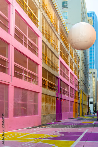 Pink walls in Alley Oop, a colorful alley in Vancouver BC, Canada