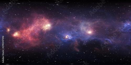 Foto auf AluDibond Aubergine lila 360 degree stellar system and gas nebula. Panorama, environment 360 HDRI map. Equirectangular projection, spherical panorama. Virtual reality background.