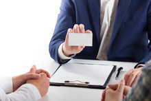 Business Executive Exchanging Business Card Blank. Copy Space