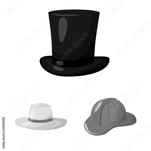 Photo  Isolated object of hat and helmet icon