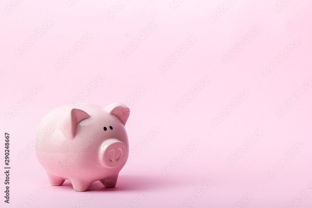Fototapety, obrazy: Piggy bank and dollar cash money. Business, finance, investment, saving and corruption concept.