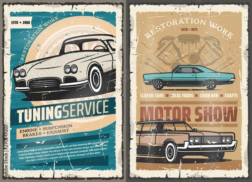 Obraz Retro cars tuning service, vintage motor show - fototapety do salonu