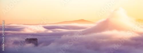 Keuken foto achterwand Lavendel Sunrise over clouds