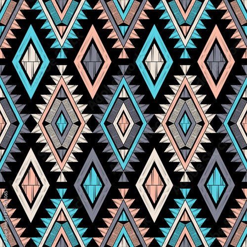 Foto auf AluDibond Boho-Stil Zebra stripes. Ethnic boho seamless pattern. Lace. Embroidery on fabric. Patchwork texture. Weaving. Traditional ornament. Tribal pattern. Folk motif. Can be used for wallpaper, textile, wrapping, web