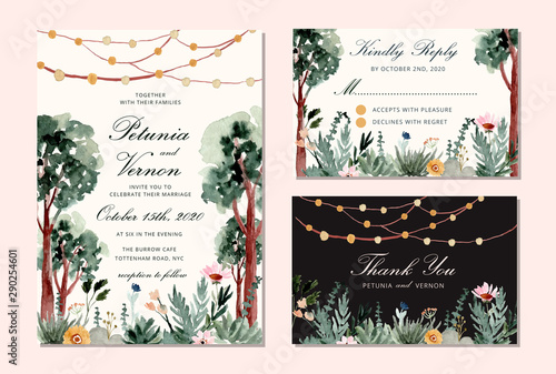 Fotomural wedding invitation set with tree and string light watercolor background