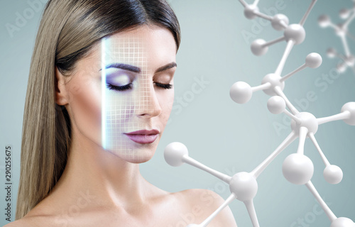 Beautiful woman near big white molecule chain. Fototapet