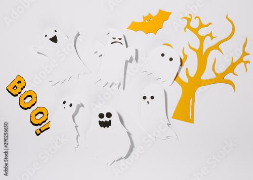 Fényképezés  Paper ghosts with inscription Boo!