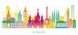Europe Skyline Landmarks Colorful Silhouette