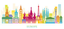 Europe Skyline Landmarks Color...