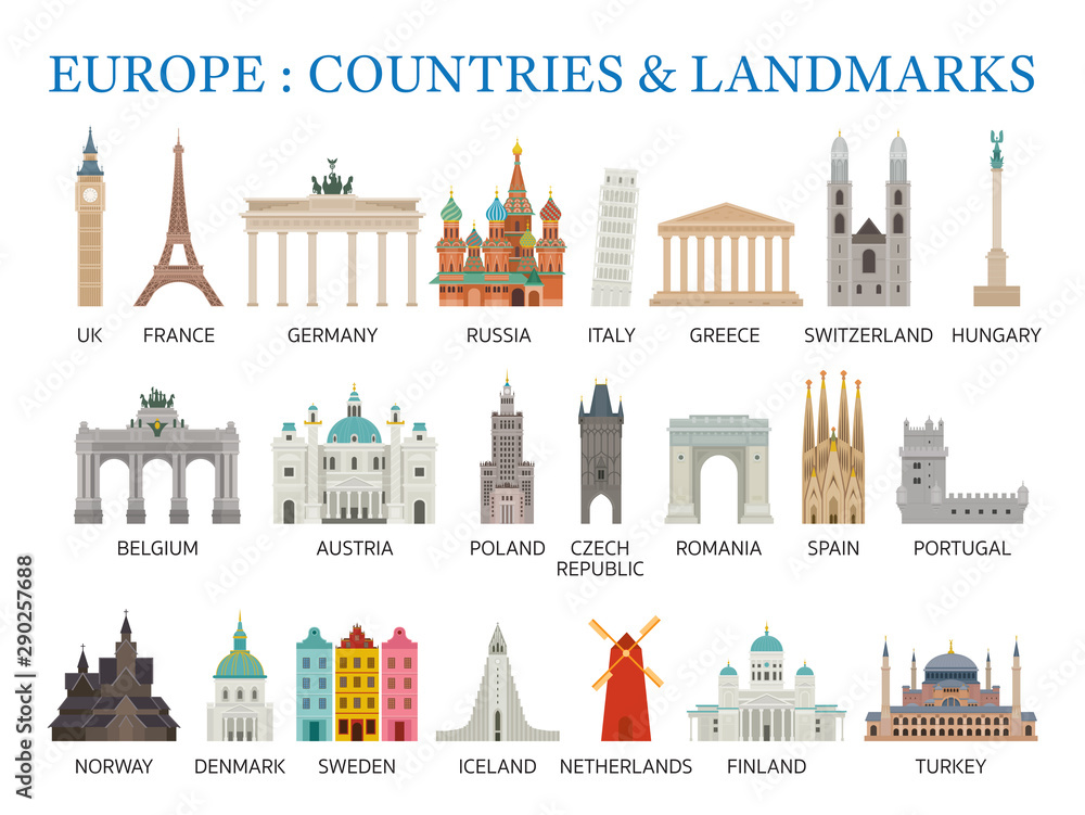 Fototapeta Europe Countries Landmarks in Flat Style