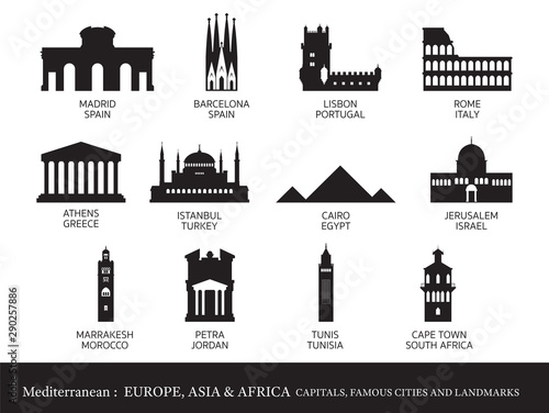 Fotografie, Obraz Mediterranean Europe, Africa, Asia Cities Landmarks Silhouette