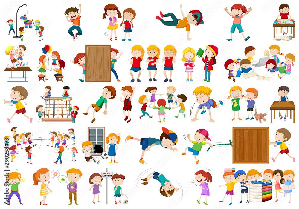 Fototapety, obrazy: Boys, girls, children in educational fun activty theme