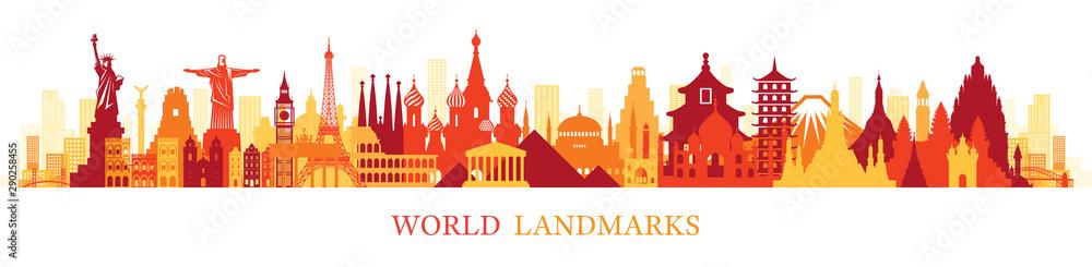 Fototapety, obrazy: World Skyline Landmarks Silhouette in Colorful Color