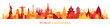 World Skyline Landmarks Silhouette in Colorful Color
