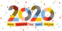 Merry Christmas And Happy New Year 2020 Greeting Card. Multicolored Abstract Numbers With Ribbons And Confetti Isolated On White Background. Elegant Vector Illustration In Retro Style