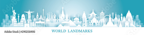 Fotomural  World Skyline Landmarks in Paper Cutting Style
