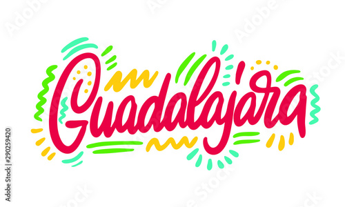 Guadalajara, text design. Vector calligraphy. Typography poster. Usable as background.