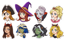 Halloween Kawaii Set Of Fantasy Characters. Hand Drawn Vector Avatars. Isolated On White Background.