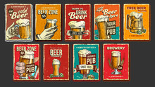 Beer Collection Advertising Poster Set Vector. Wooden And Glass Cups, Green Hops And Spikelets Wheat On Different Commercial Promotional Banner Of Tavern Pub. Advertisement Flat Cartoon Illustrations