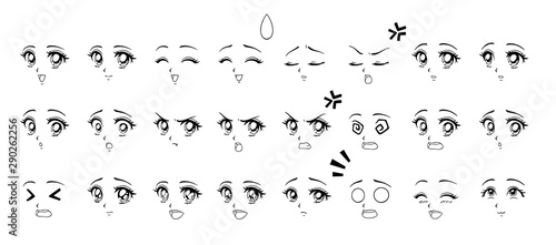 Set of cartoon anime style expressions. Different eyes, mouth, eyebrows. Contour picture for manga. Hand drawn vector illustration isolated on white background. - 290262256