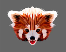Cute And Fluffy Chinese Red Panda. Vector Character Low Poly Illustration. Polygonal Style Trendy Modern Logo Design. Suitable For Printing On A T-shirt.