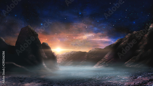 Cuadros en Lienzo Sci-fi magical landscape with rock valey, star and sun