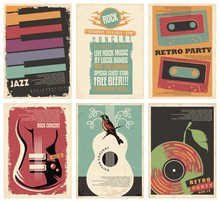 Vintage Collection Of Musical Posters. Flyers Set For Retro Parties, Rock And Jazz Concerts, Classical Guitar Events And Other Music Festivals. Retro Vector Illustration.
